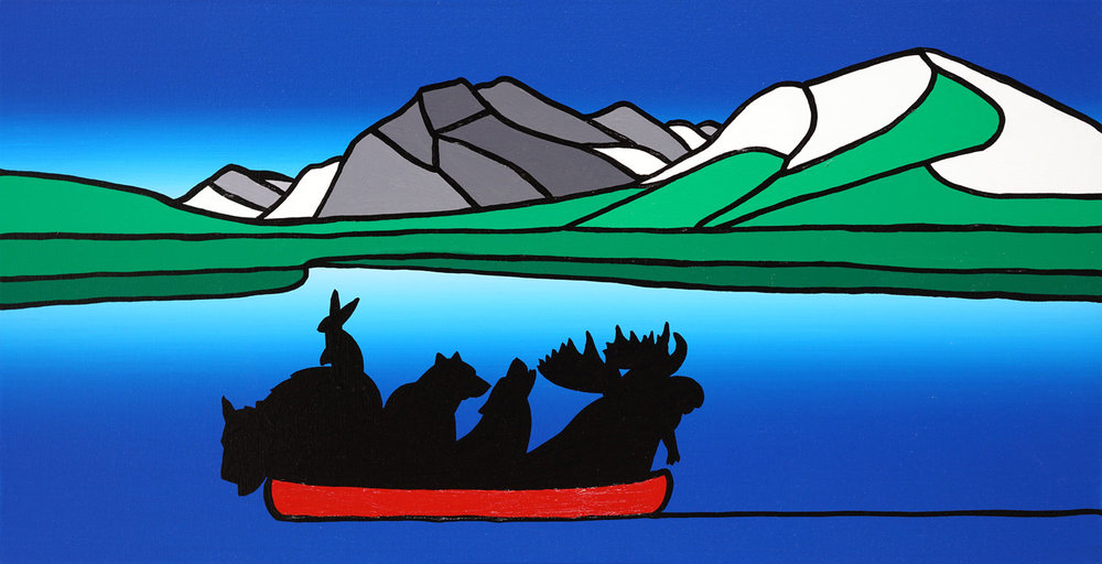 "The Wild Party At Rundle Mountain, Summer   24"" x 12"" Acrylic on Canvas  Jason Carter, 2017  SOLD"