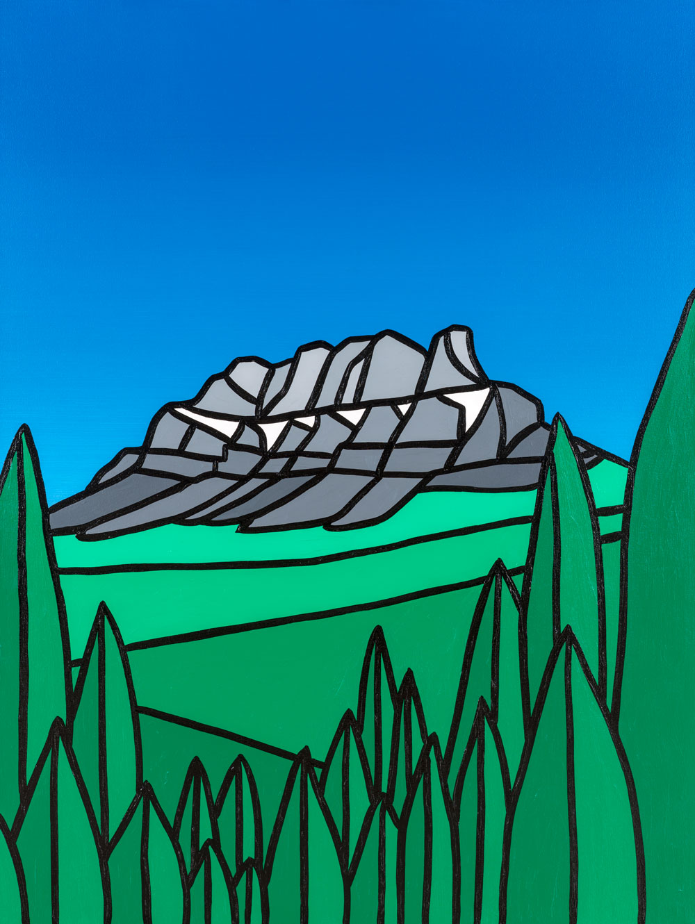 "Castle Mountain, Summer   30"" x 40"" Acrylic on Canvas  Jason Carter, 2014  SOLD"