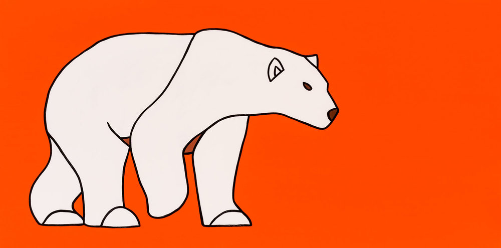 "The Walking Polar Bear On Orange   48"" x 24"" Acrylic on Canvas  Jason Carter, 2017  $2800"