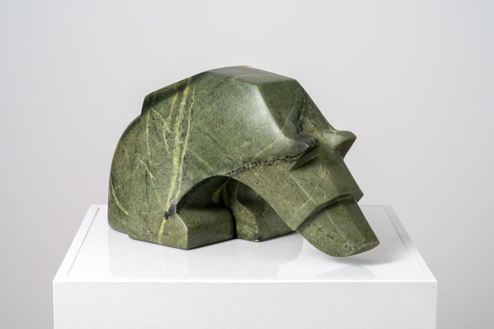 "The Incredibly Curious Bear   Brazilian Soapstone  8"" W x 17"" L x 9"" H  Jason Carter, 2018  $3200"