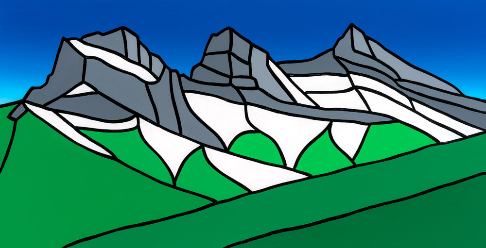 "Three Sisters, Summer   36"" x 18"" Acrylic on Canvas  Jason Carter, 2018  $1840"