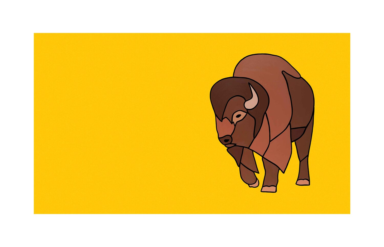 #002 The Turning Bison On Yellow  Carter-Ryan