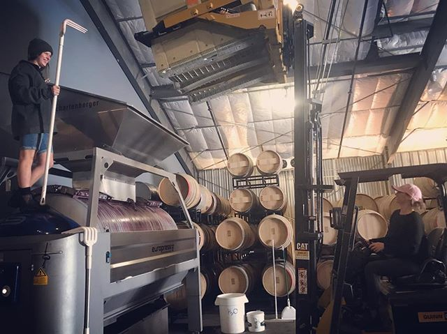 Last press! December 8, 2018. #blessed #pizzaparty #womenwinemakers #shouldawaitedaday #harvestof9s