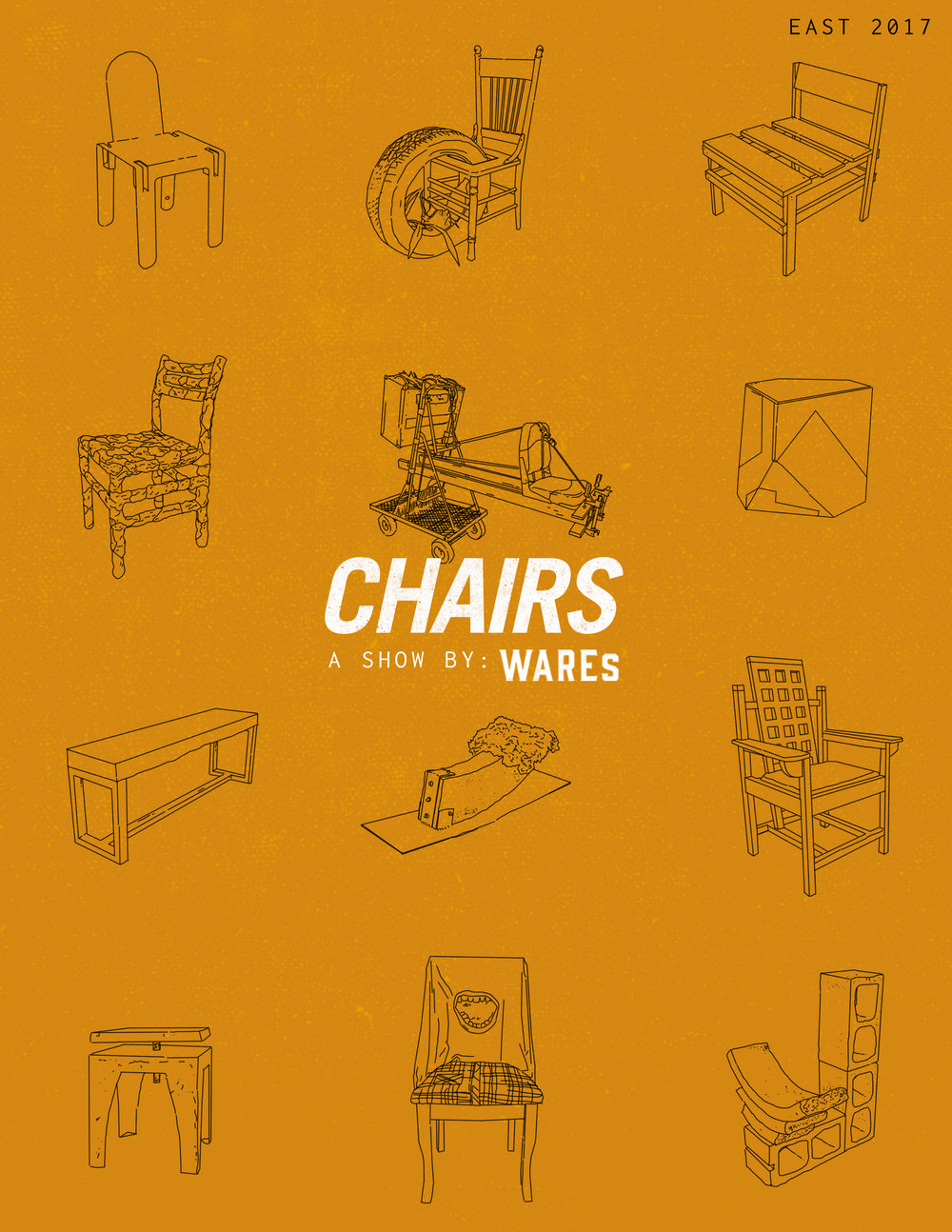 CHAIRS by WAREs– Nov 2017 – (@East 4th St) East Austin Studio Tours  - This exhibition features the 'chair' as object, sculpture, and furniture as conceived through the eyes of central Texas artists, designers, and makers.