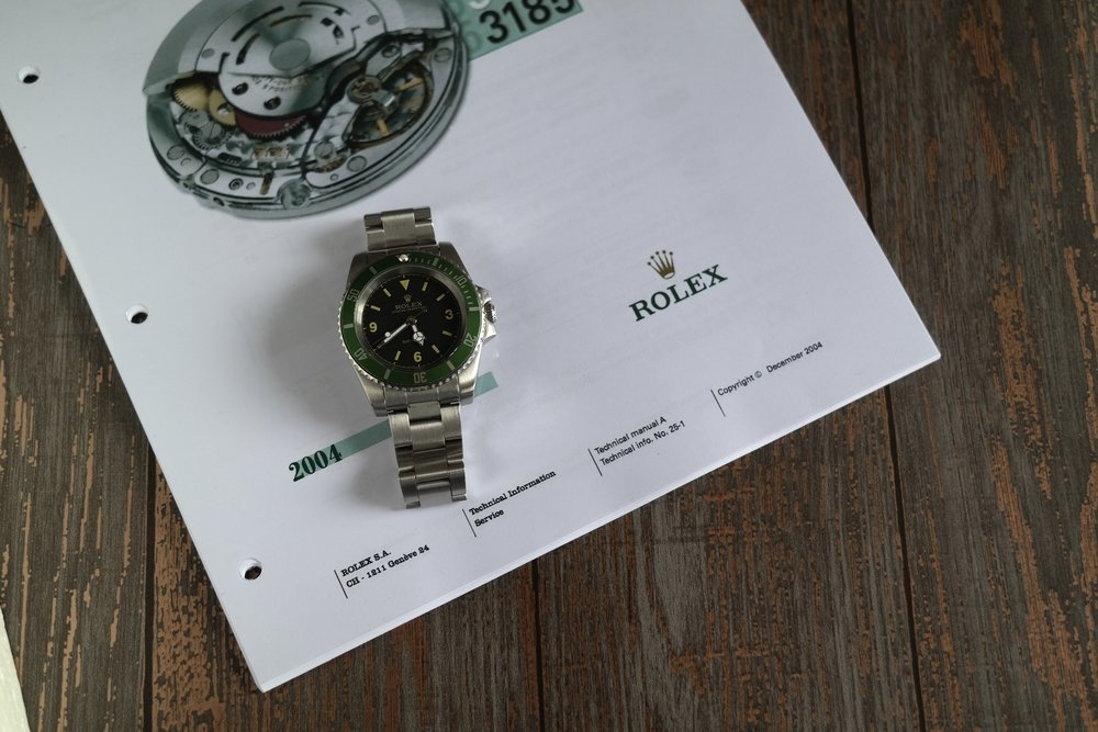 My Rolex Kermit Submariner on the manual for it's Rolex 3130 movement. Shot by me on Samsung NX300.