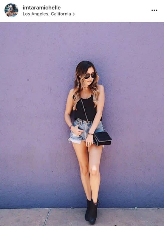 Los Angeles, California - I was 100% in a food coma for this picture, but I powered through to get the Insta! My boyfriend and I were walking home from lunch and I just had to stop for the purple wall! Who wouldn't?!Top – Urban Outfitters (similar)Shorts – Urban OutfittersBag – Stella McCartneyShoes – NordstromSunglasses – Rayban