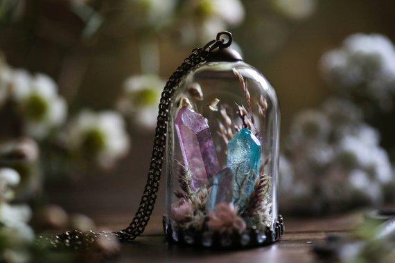 Collier terrarium avec cristaux RubyRobinBoutique en vente sur Etsy