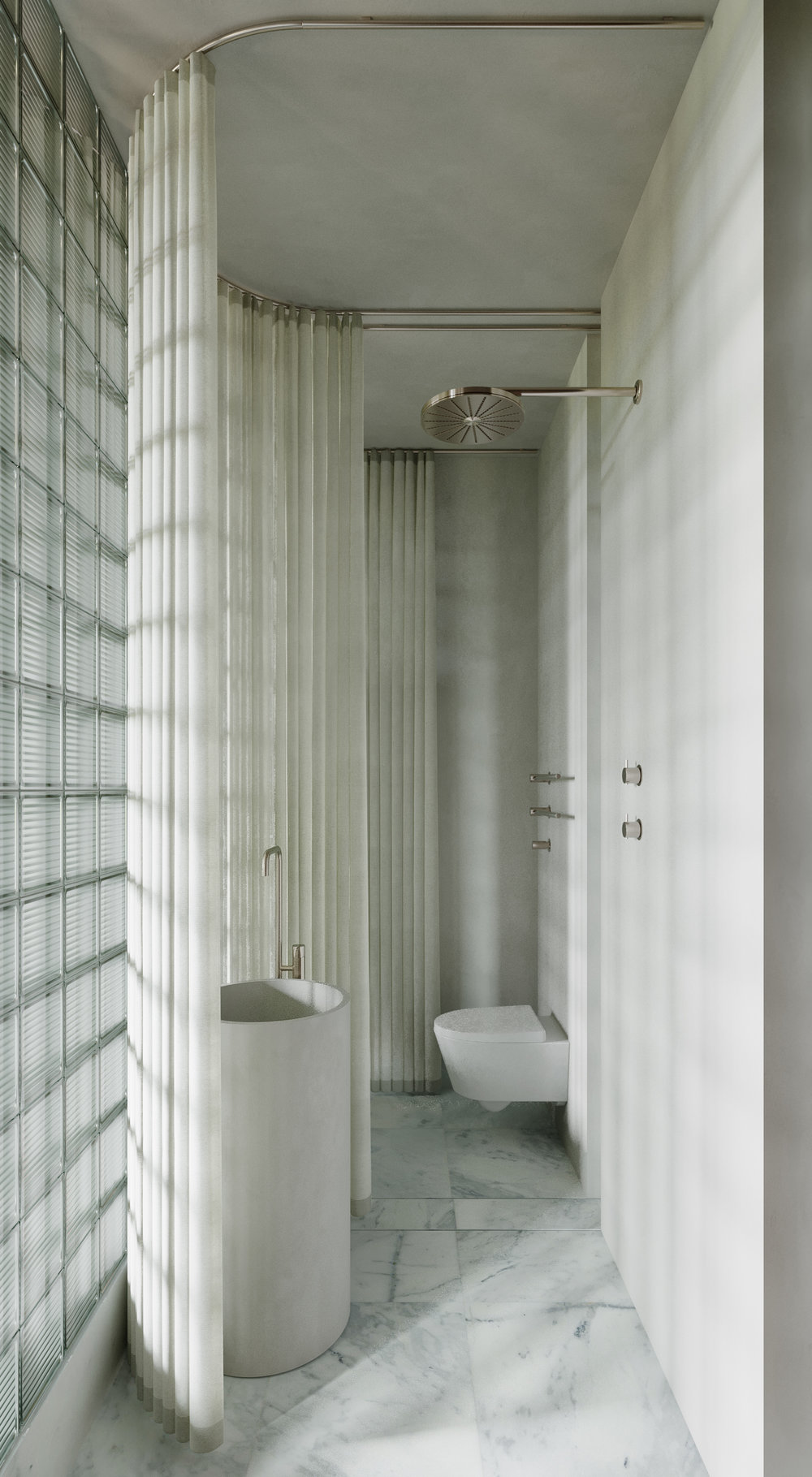 Copy of MRBL project Artem Trigubchak bathroom shower toilet wc glass blocks curtain