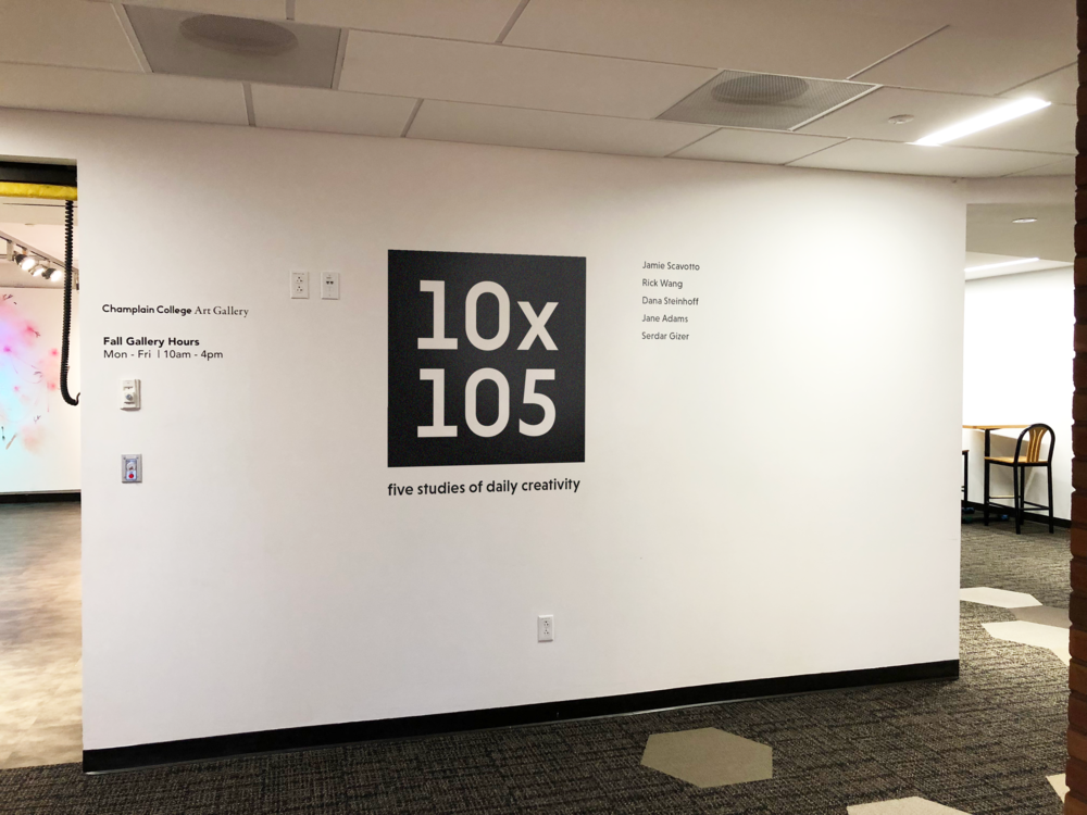 For 10 minutes a day, 105 days in a row, 5 graduate students explored the nature of their creativity by practicing a single creative act. Their creations went on display in the Champlain College Art Gallery on March 22, 2016.
