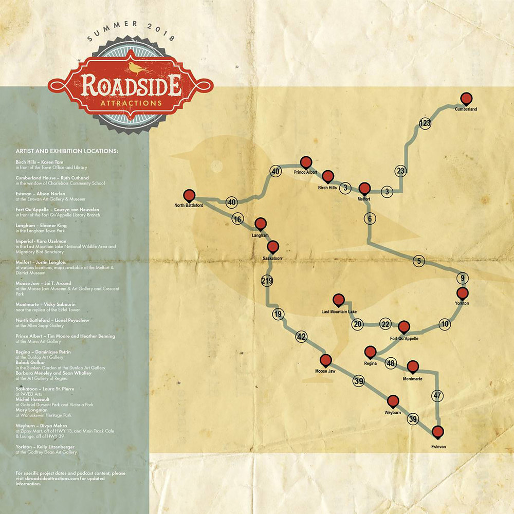 Summer 2018 Roadside Attractions route map