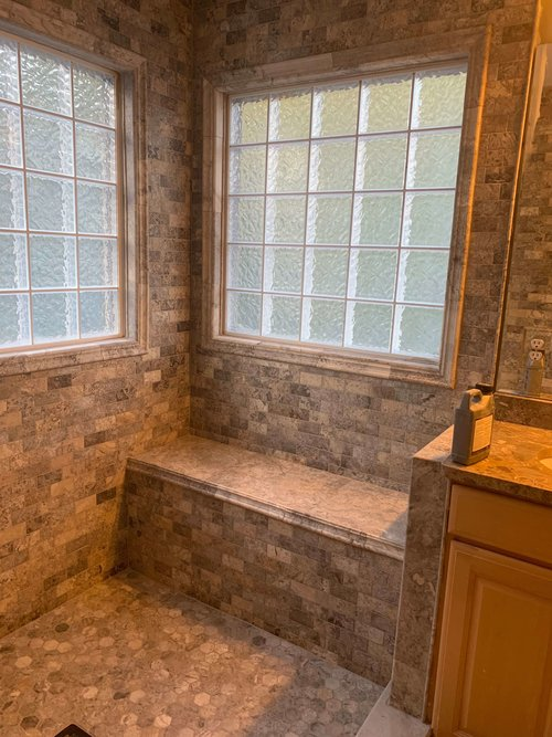 More Travertine Shower Progress Pics — CRS Inc.