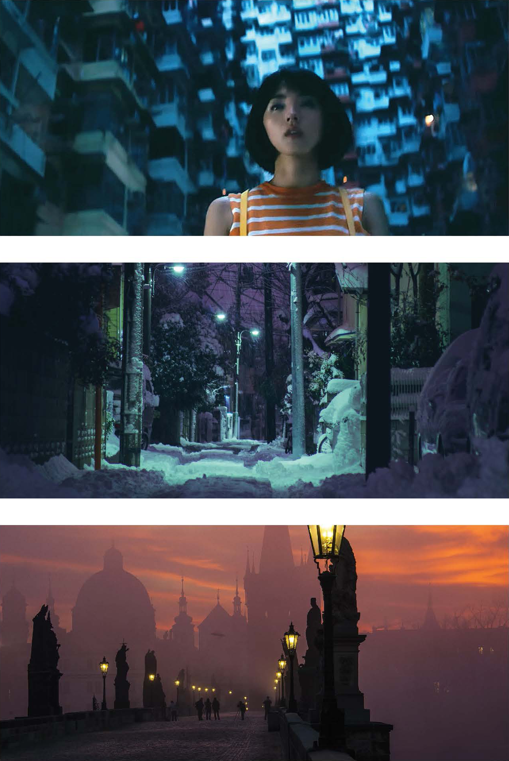 Imagery Inspiration: Inspired by a recent trip to Japan as well as re-watching the original Blade Runner, the image inspiration is a vast spanning city scape with a central, lone inhabitant. Combining these images with the electric color scheme will express a surreal, dreamlike out of body experience, and a feeling of lucidity, and a world that feels simultaneously real and unreal.