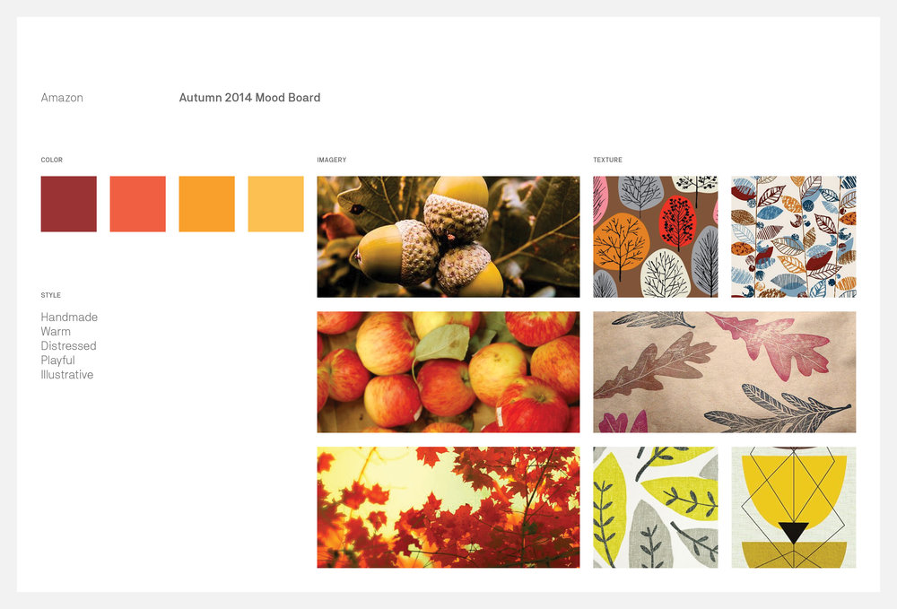 For the moodboard I drew inspiration from Mid-century modern print and textile patterns and the warm Fall colors of changing leaves. I wanted to create something earnest, slightly whimsical, and accessible. These qualities would allow the illustrations to be used in a variety of contexts spanning the globe while marketing any number of products.