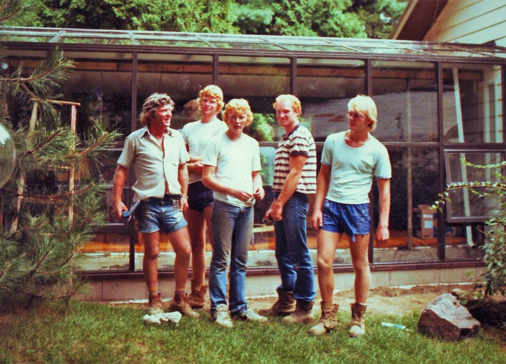 Clarence's ready-made work crew. Pictured from left: Clarence (father), Rob, Alex, Ken, Peter