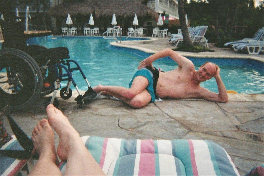Enjoying the pool on a scuba trip to Florida.
