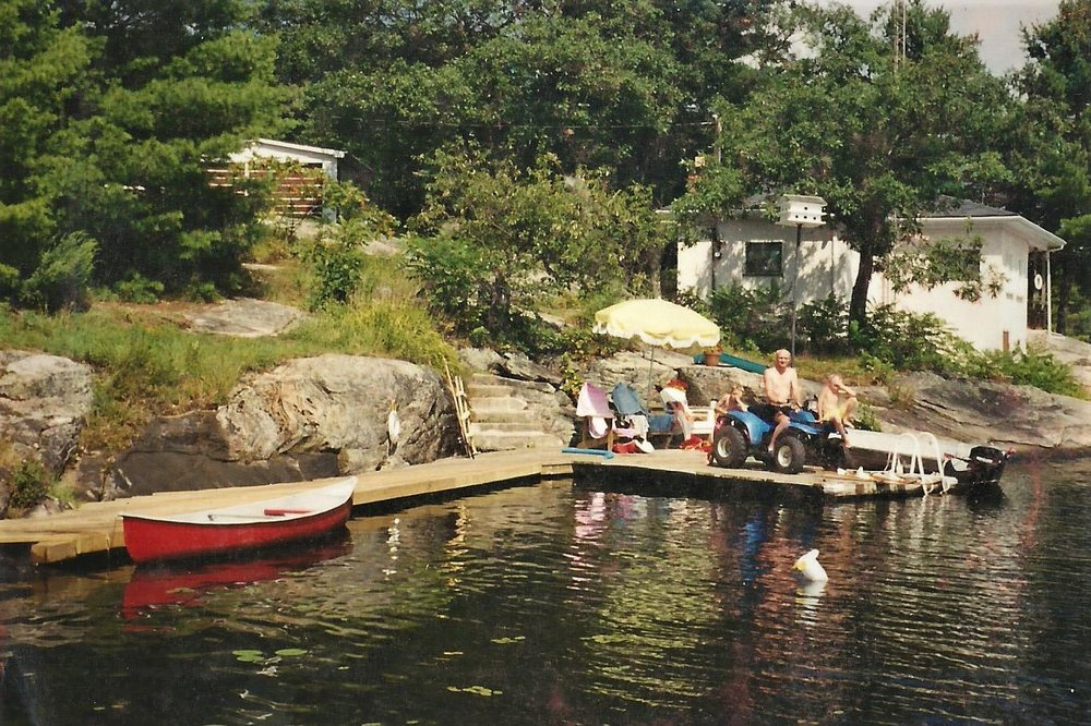 The modified dock at the cottage so Ken could get to the water.