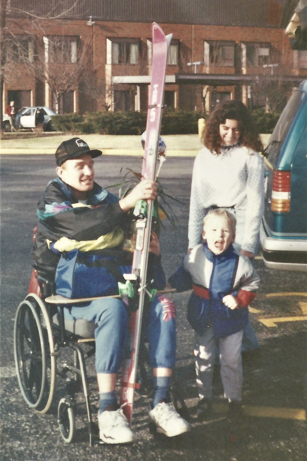 Bringing Ken and his skis home from the hospital.