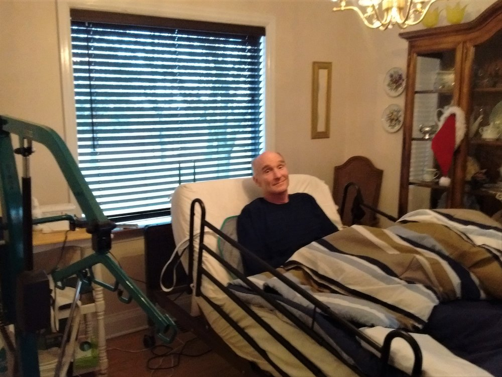 After Ken came home from the hospital, he temporarily resided in the dining room until furniture could be re-arranged.