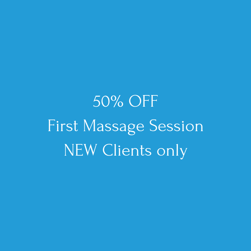 New Client Special   All first time visitors will receive HALF OFF their first massage with us! Choose from a 60 or 90 minute session.