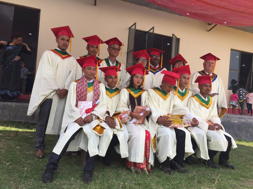 2018 graduating students with their teachers. Nepal Evangelical Seminary (NES) in Hetauda, Nepal. One thing we're excited about is how many young women are are also interested in coming to study!