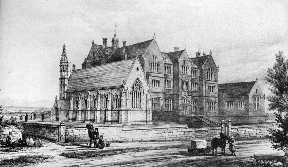 The original College from which the university evolved is still in use by the university and now known as Old College, shown here in 1843, a year after it opened