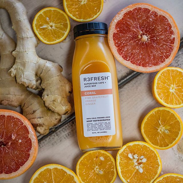 C O R A L  Pink grapefruit, orange, and ginger. Citrus + Sweet with a hint of heat! • • • • • #clean #lifestylegoals #r3freshjuicebar #beachvibes #sandiego #feelgoodfood #eat #photooftheday #instafood #convoystreet #socalliving #coldpressedjuice #sandiegojuice #coldpressed #juicebottle #sandiegoheatwave #sandiegoheat #sandiegofoodie #yelpelite #eatlocal #sandiegobeachvibes #pinkgrapefruit #metabolismboost #foodiegram