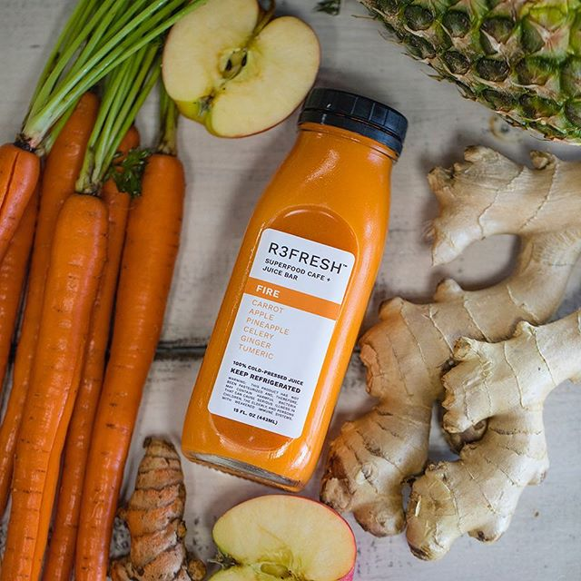 F I R E Carrot, Pineapple, Apple, Celery, Ginger, & Turmeric. Give your immune a boost! • • • • • #clean #lifestylegoals #r3freshjuicebar #beachvibes #sandiego #feelgoodfood #eat #photooftheday #instafood #convoystreet #socalliving #coldpressedjuice #sandiegojuice #coldpressed #juicebottle #sandiegoheatwave #sandiegoheat #sandiegofoodie #gingershot #eatlocal #sandiegobeachvibes #ginger #sandiegocleansejuice #foodiegram