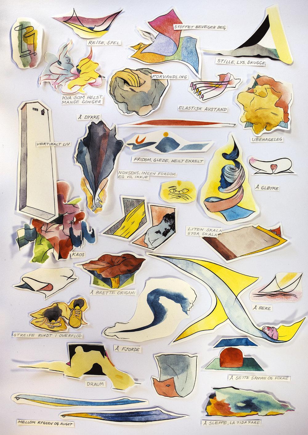 Manual para el visitante (vista anterior). Dibujos de Rita Ponce de León surgidos de la exploración corporal y manipulación de las telas realizada durante los encuentros abiertos a público en el museo  Sogn og Fjordane Kunstmuseum , en la ciudad de  Førde.