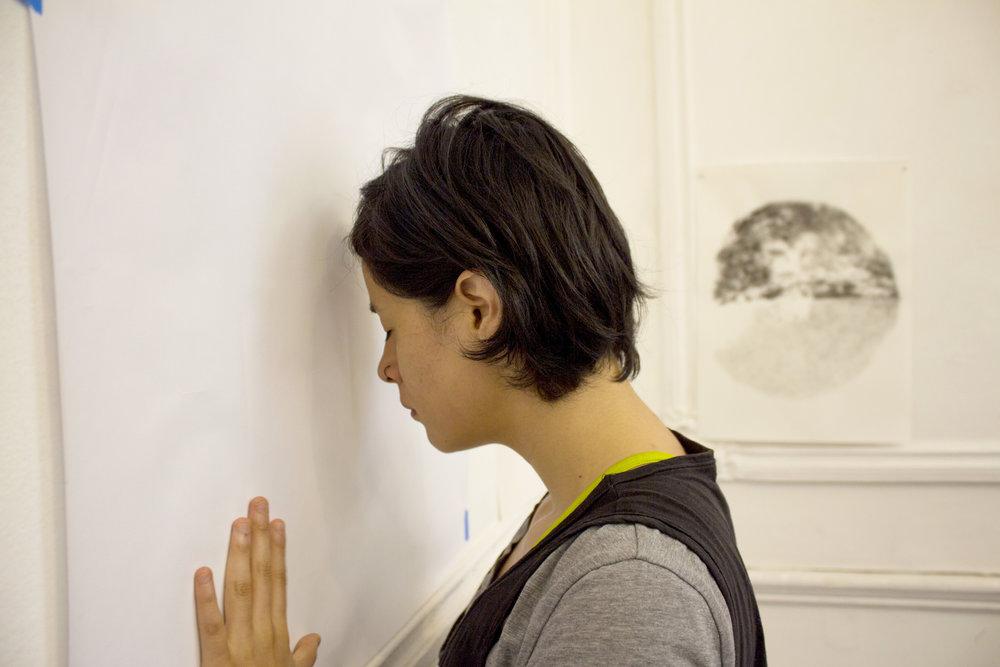 Taller  Fuera de los muros entre los Cuerpos . Dibujo, cuerpo y afectividad. Centro Cultural Arbol de la Noche, CDMX 2019.