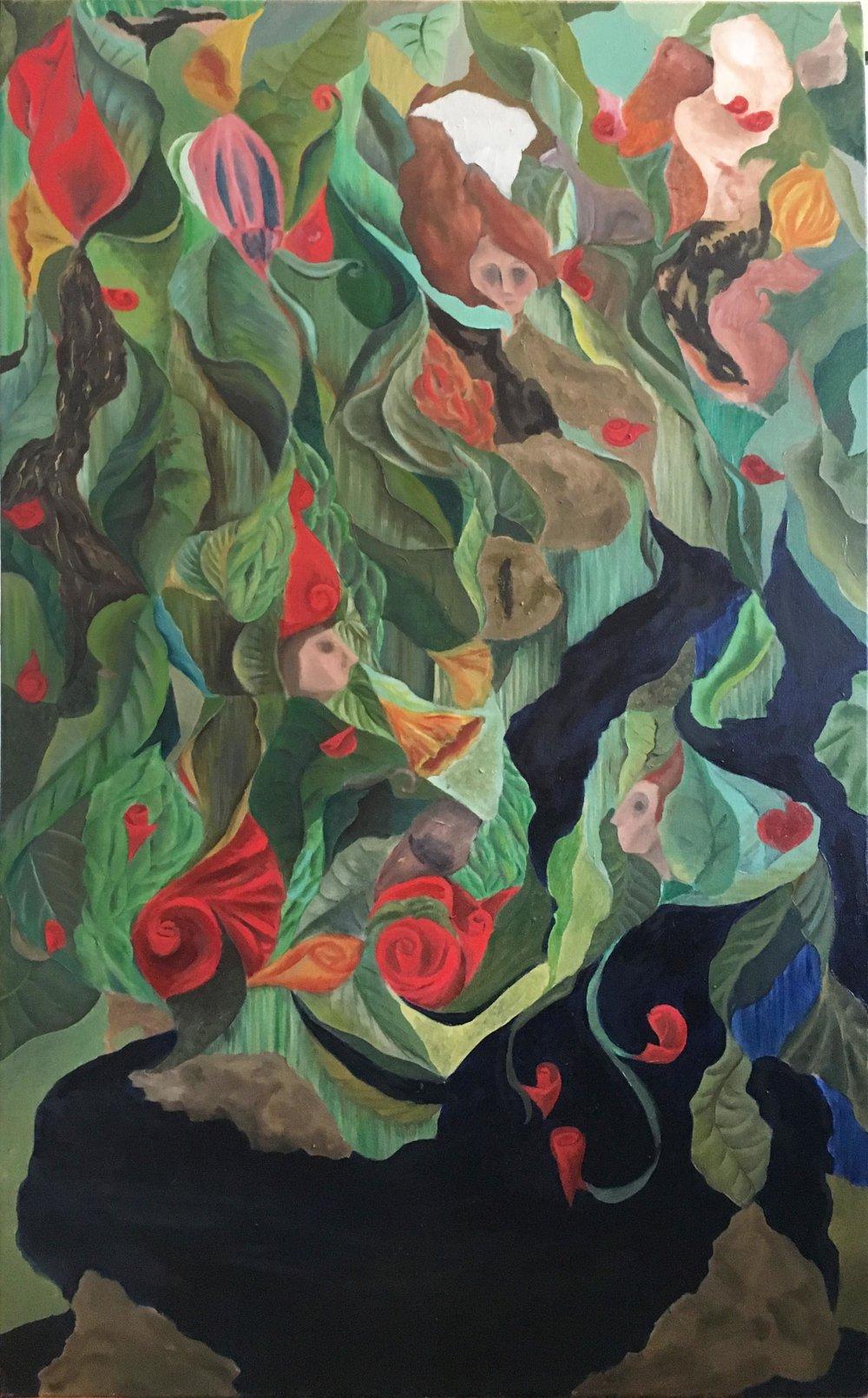 "Work in Progress: In the Garden, oil on Canvas, 48x30"""