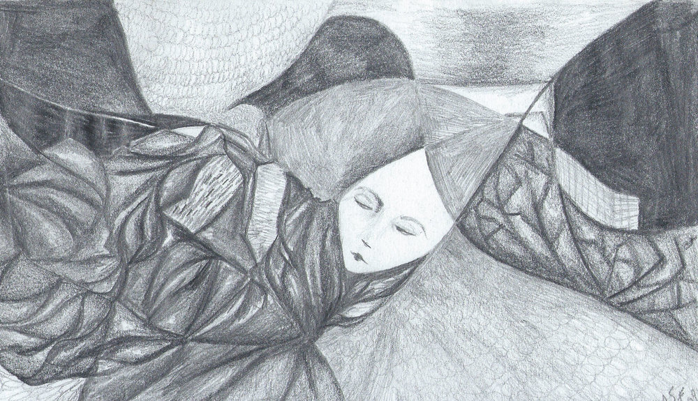 """Woman and Quilt, Graphite, 5x7"""""""