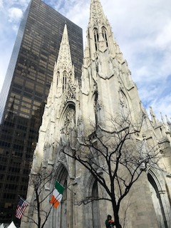 St. Patricks Cathedral during the New York City 2018 St. Patrick's Day parade.
