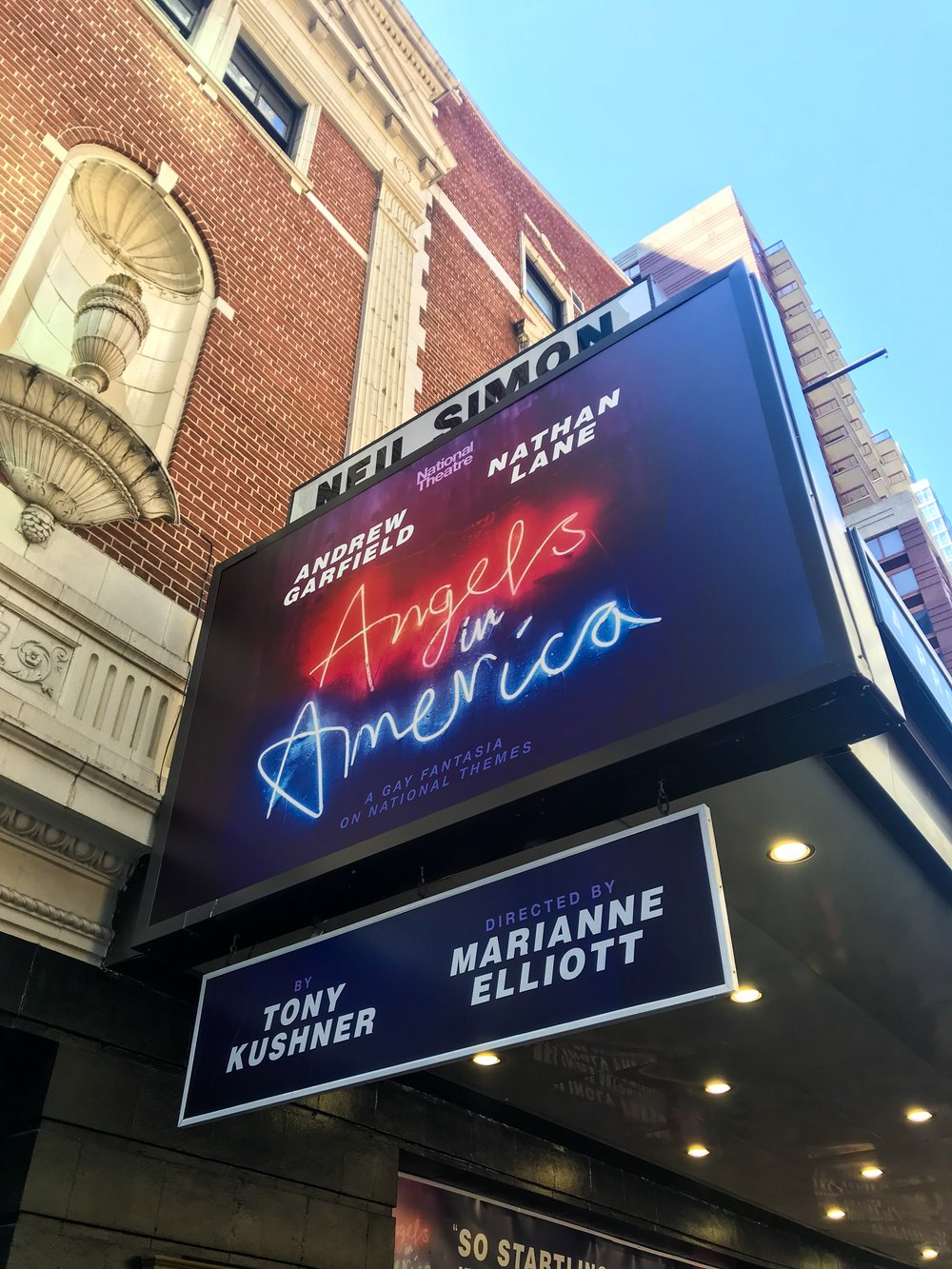 Angels in America: Millenium Approaches & Perestroika - Written by: Tony KushnerStarring: Andrew Garfield, Nathan Lane, Lee PaceNeil Simon Theater on BroadwayAttended on March 31, 2018