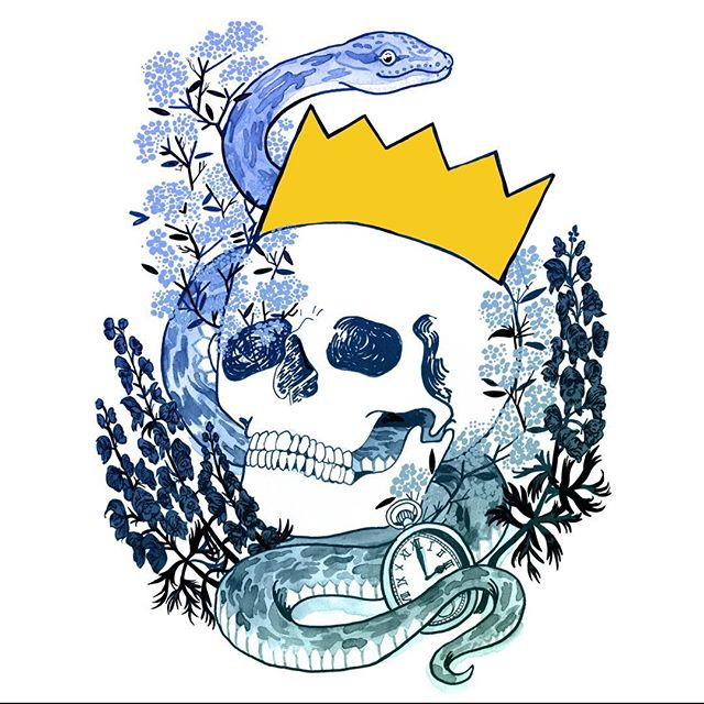 Day 14 of #Drawlloween: The prompt was #skeleton. I know this is technically a #skull 💀🖤😘🐍. The #forgetmenots represent loss and the #monkshood are a #poisonous flower that represents death. Drawn using #ink and coloured in #procreate #mabsdrawlloweenclub #mabsdrawlloweenclubpromptlist  #inktober #inktober2018 #snake #posca #gothic #drawing #illustration #crown #flowers #illustrator #death #king #symbols #illustrationartists #illustrationart #illustratorsoninstagram #illustrationartist #artistsoninstagram #inkdrawing #drawing