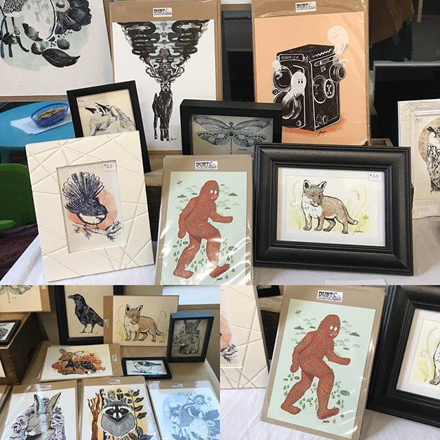 Pop up shop is now open. Including my new big foot and ghost camera is available! We are here till 3pm and 11am till 3pm tomorrow #popupshop #illustration #dunedinart #painting