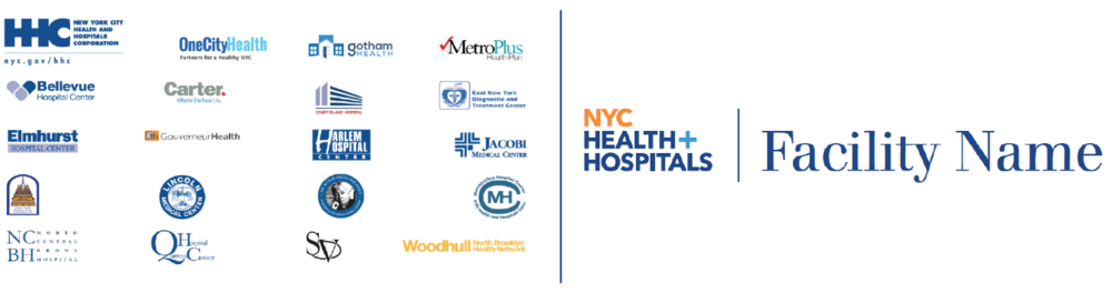 Hospital logos before and after rebranding