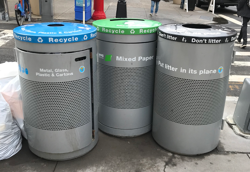Note: I didn't have any photos of the bins, so I went to the corner of my block and took these snapshots.