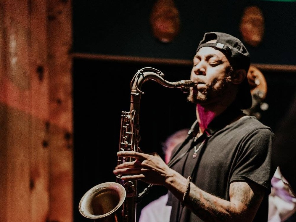 Spunk Adams - Sax - Spunk Adams is a charismatic and energetic tenor sax player. He inspires me, and I'm excited to welcome Spunk to Skirvin Jazz Club.