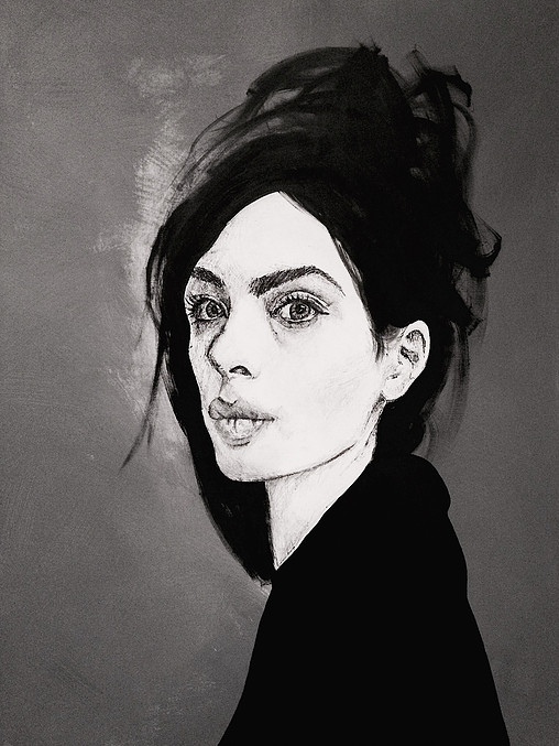 The Woman In Black - Biro, Ink and ACrylic on Canvass - 1230mm x 920mm.jpg