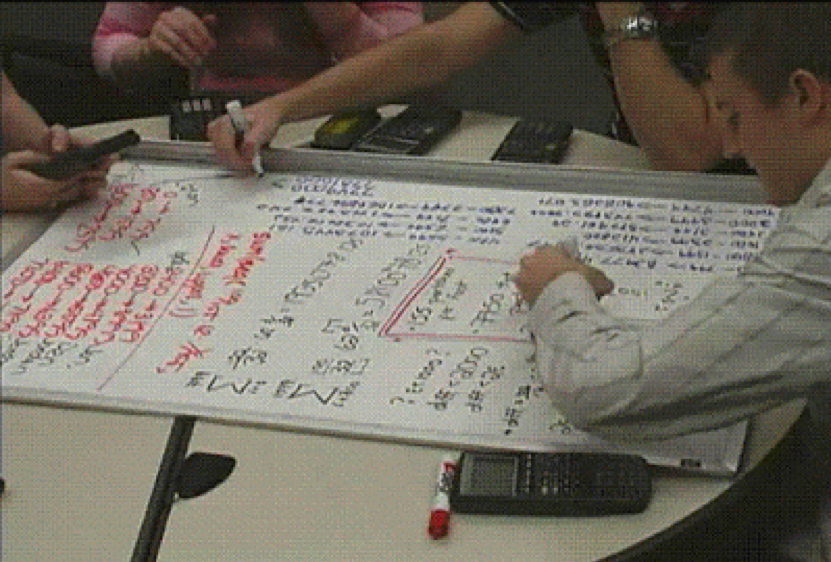 \Figure 1. Students working on integral as accumulator, reproduced from the homepage of Coherent Labs to Enhance Accessible and Rigorous Calculus Instruction ( CLEAR Calculus )