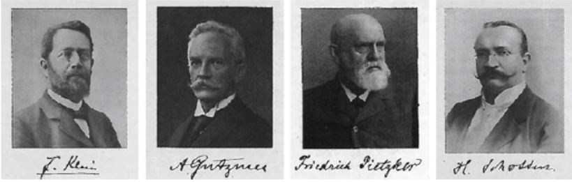 Figure 2. Members of the German National Teaching Commission for Mathematics: Felix Klein, August Gutzmer, Friedrich Pietzker, and Heinrich Schotten.  (Lorey 1938, pp. 18, 20, 26, 41)