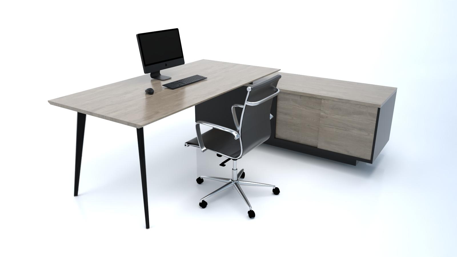 Credenza Dark : Arrow black executive with credenza return u2014 liv office: home