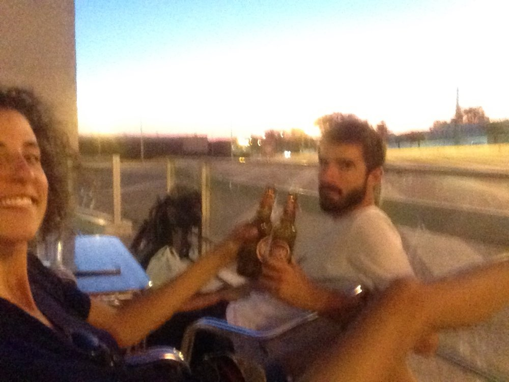 And, to not break the tradition, a very blurry picture of our first Super Bock in Portuguese territory. In Elvas, where we were already too close to our destination to camp and from where my parents picked us up!