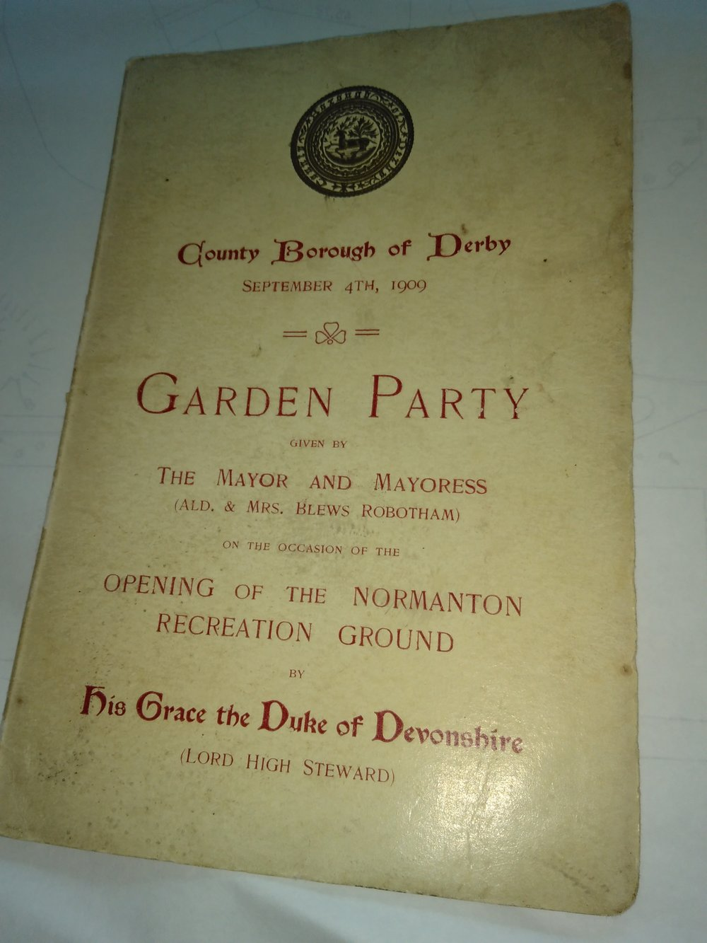The front cover of the programme from opening day.