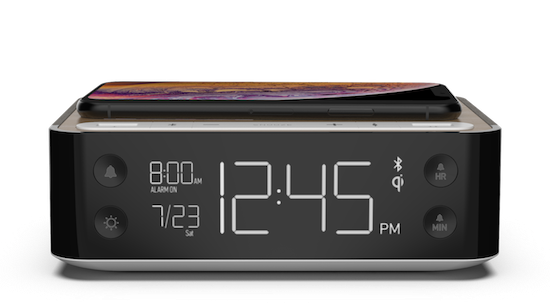 Hotel Clock Radio with Dual USB, Qi Wireless Charging, and Bluetooth Speaker