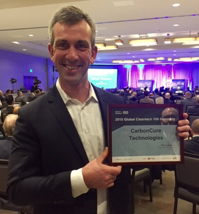 CarbonCure's CEO Rob Niven received the 2015 Global Cleantech 100 Company Award in San Frans
