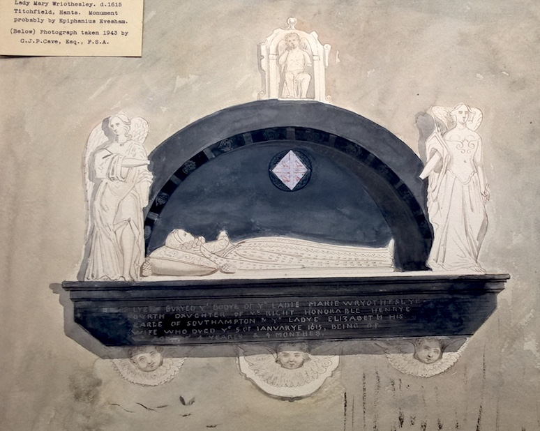 Image:- Ubsdell, R.H.C.,1840, Watercolour drawing of the Lady Mary Wriothesley Monument, Collection of Prints & Drawings of the Society of Antiquaries of London, Sepulchral Monuments and Tombs, Hampshire, SAL/238A/5-7
