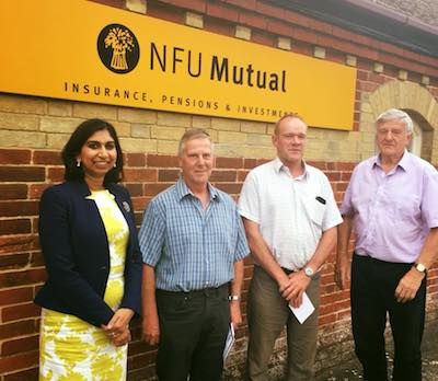 Suella with local NFU members