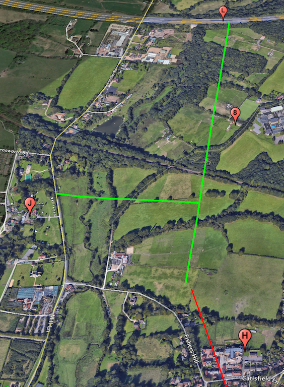 The red lines depict tunnel and the green liness depict surface roads.