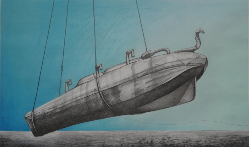Suspended Sub 2. Graphite and Pastel.